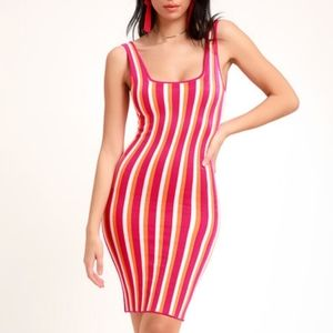 LULUS Hot Sexy Pink Party Sweater Bodycon Dress
